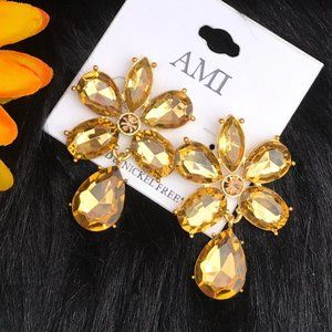 Boho Earrings Gold Rhinestone Crystal Bead Posts